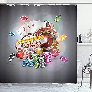 """Ambesonne 扑克锦标赛浴帘,欢迎来到 Casino 彩色筹码和卡片骰子和轮盘赢得的夹克,布料浴室装饰套装带挂钩 红色 黄色 84"""" Long Extra sc_39073_extralong"""