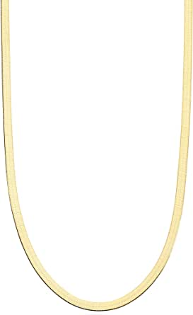 Miabella 18K 金纯银意大利实心 3.5 毫米扁平人字链项链 男式女式 40.64 厘米,45.72 厘米,50.8 厘米,55.88 厘米,60.96 厘米,66.04 厘米