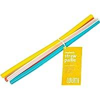 Luumi 非塑料可重复使用硅胶吸管 – 纯铂金硅胶吸管 – 不含双酚A,耐用,灵活,可用洗碗机清洗,适合儿童/幼儿(各种颜色)
