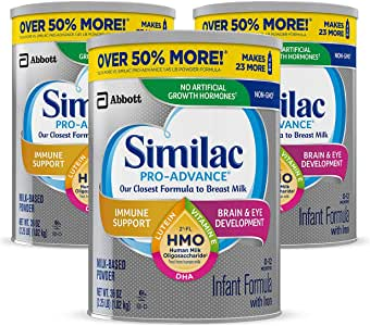 Similac 雅培 Pro-Advance 婴儿配方奶粉,含铁,含2'-FL HMO,婴儿配方奶粉,粉末,36盎司(1.02kg),3罐装(一个月供应量)