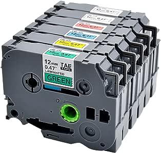 6 件装替换 TZe 标签胶带 12 毫米 0.47 英寸标准层压胶带 适用于 TZe-231 TZe-131 TZe-431 TZe-531 TZe-631 TZe-731 兼容 Brother P-Touch 标签机 PT-D210 PT-H110 PT-D600,26.2 英尺