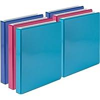 Samsill 经济 3 环活页夹,双色,2.54 厘米白色圆环,多色散装活页夹 6 件装