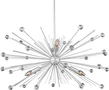 AA Warehousing X8-4 X8-4 Sputnik 吊灯,闪亮银色表面,需配变压器