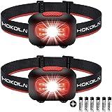 HOKOILN LED 头灯手电筒 2 件装 - 跑步、露营和户外前照灯 - 5 种模式可调节头灯带红色 COB *灯,适合成人和儿童,3 节 AAA 碱性电池(随附)