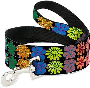 明亮彩色雏菊和鲜花花卉图案趣味动物宠物狗猫皮带 五彩 6'
