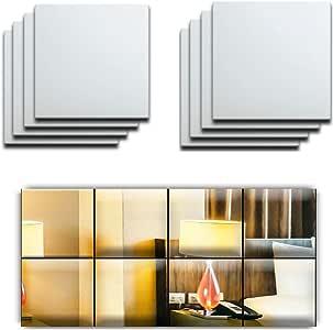 反光镜马赛克方形装饰墙贴 32 张 - 可贴在任何地方 2 MM Thick