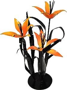 Steven Cooper Metalsmith ATRIPLILY 钢底座高三重百合,21 英寸,橙色