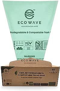 ECO WAVE 100% 可生物降解和可组合的垃圾袋,3加仑,100袋