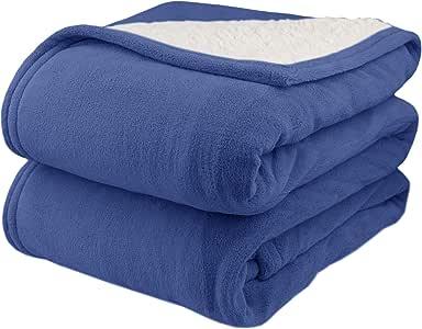 Pure Warmth 超细毛绒羊羔绒电热毯 单人床 双人床 大号双人床 蓝色 King 2064-9052RM-500