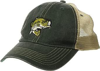Cowbucker 大嘴鲈鱼微型标志复古卡车司机帽,可调节后扣网状帽