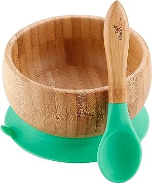 智能 Start Avanchy 强力 アヴァンシー 防打翻竹碗吸盘、带勺子 绿色