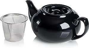 Adagio Teas PersonaliTea 陶瓷茶壶,带保温篮,24 盎司 黑色 COMINHKPR63861