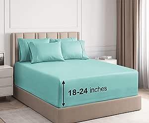 CGK Unlimited 超深口袋床单 - 7 件床单套装 - 分离式大号双人床床单 深口袋 - 超深床单 - 53.34 厘米深口袋 Spa 蓝色 加州King size
