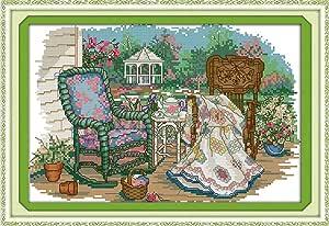 印花十字绣套件 14CT 预印画十字绣 DIY 艺术工艺和缝纫针套件 适合家居装饰 The grandmother's cane chair MA-11