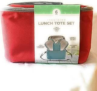 大号包旅行手提午餐袋隔热带带餐盘食品储存容器2个外出时带盖和冰块袋 6 件装 红色