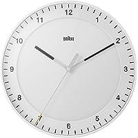 Braun 博朗 经典大号模拟挂钟 带静音扫描机芯,易于读取,直径 30 厘米,白色,型号 BC17W
