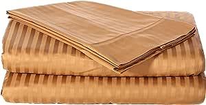 奢华 300 支床单套装,* 埃及长绒棉长绒纱线,棉缎编织,3 件套:床笠/床单/枕套,耐用柔软,袋深达 45.72 cm,300TC 多种尺寸和颜色 青铜色 加州King size