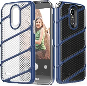 LG Stylo 3 / Stylo 3 Plus 手机壳,IN4U 超薄透明极简主义双层保护壳 [气垫] 内弹性柔软 TPU 环绕带彩色外壳 Lg Stylo3 * *蓝