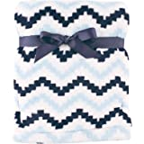 "Hudson Baby Super Plush Blanket, Blue Chevron, 30"" x 40"""