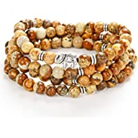 Self-Discovery 108 Mala 石珠缠绕手链大象吊坠手工珠宝礼品