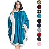 PAVILIA Angel Wrap 可穿戴斗篷毛毯 羊羔绒装饰 海蓝色 均码
