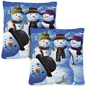 Toland Home Garden 雪人 Pillow Case (2-pack) 18 x 18 Inch Indoor Pillow Case Only (2-Pack) 781297