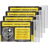 瑞士*紧急聚酯薄膜保暖毯(4 条装)+ 赠送标志性金箔空间毯:专为 NASA、户外、徒步、生存、马拉松或急救设计 黑色…