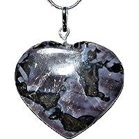 Zenergy Gems Charged 天然喜马拉雅神秘靛蓝 Gabbro 水晶心形吊坠 + 50.8cm 镀银蛇链…