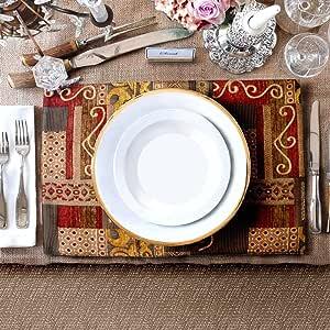 """Artbisons 餐垫手工餐垫 Golden Illusion 16x12"""" Placemats BS-0031"""