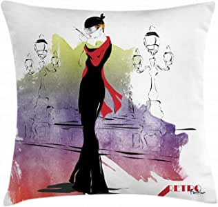 Fashion House Decor Throw Pillow Cushion Cover by Ambesonne, Girl with Red Shawl Street Sixties Trends Retro Style Glamour, Decorative Square Accent Pillow Case, 16 X 16 Inches, Black Purple