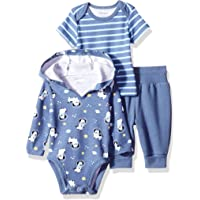 Hanes Ultimate Baby Flexy 针织慢跑裤,带连帽衫和短袖圆领套装
