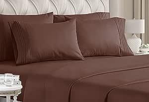 CGK Unlimited 加大双人床床单套装 - 白色床单 - 床单 床套 4 个枕套 - 超深口袋 - 超细纤维 - 比埃及棉更柔软 - 酒店奢华 棕色 加州King size unknown