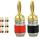 Mediabridge Banana Plugs - Corrosion-Resistant 24K Gold-Plated Connectors - 6 Pair/12 Banana Plugs (Part# SPC-BP2-6)