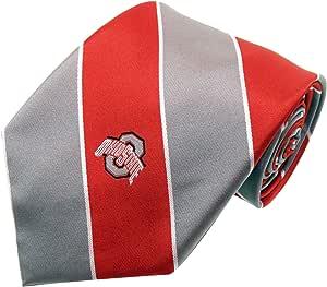 NCAA Men's Ohio State Buckeyes Striped Necktie, Scarlet/Grey