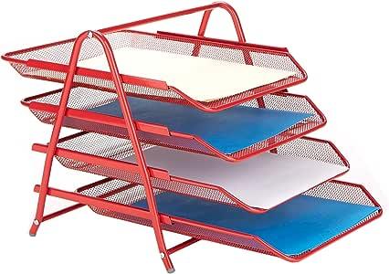 Mind Reader 书桌收纳盒带 3 个可放置信件、文件 4 Tier Red 4TPAPER-RED