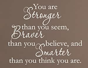 Vinyl Say vs-yas01-white-xsm You Are Stronger Than You Seem Wall Decal, Braver Thank You Believe and Smarter Than You Think You Are Wall Decal, 14-Inch by 11-Inch