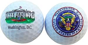 华盛顿特区白宫和总统印章纪念品高尔夫球 2 个盒装