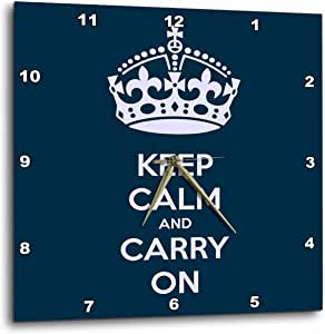 3dRose dpp_123114_3 Keep Calm and Carry On. Navy. Wall Clock, 15 by 15-Inch