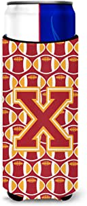Caroline's Treasures Letter G Football Cardinal and Gold Wine Bottle Koozie Hugger