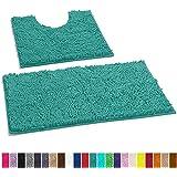LuxUrux 浴室地毯豪华雪尼尔2件套浴垫套装,柔软毛绒防滑浴室地毯+马桶垫,1英寸(约2.5厘米)超细纤维长毛地毯,*吸水性 蓝* Curved Set RUG-2PC-TRQS