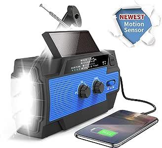 紧急天气手电筒收音机,2020 *新曲柄太阳能NOAA收音机,*佳接收,4000mAh移动电源,超亮手电筒,运动传感器阅读灯,适用于飓风、户外的 SOS 报警
