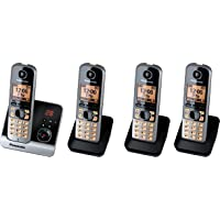 Panasonic 松下无绳电话(4.6厘米(1.8英寸)显示屏,智能按钮,免提,答录机) 黑色/银白色 Quattro