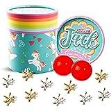 Happy Jack Jacks 儿童游戏: Jacks 游戏带 2 个球,复古,经典的杰克石头金色和银色金属杰克,2 个弹跳球带说明书,适合儿童和成人