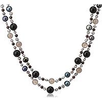 [Pure Pearl] 淡水珍珠&B玉髓&石榴石&玛瑙 黑色 PP1279N-BK(100)