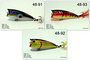 Akuna Pack of 3 Top Dog Series 2.4 inch Topwater Popper Fishing Lure
