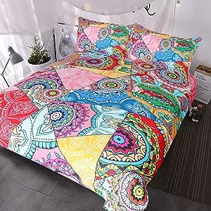 BlessLiving 3 件套亮花拼接床罩鲜亮多彩蓝绿色红色粉色花朵印花羽绒被套 粉红色 两个 BBS0430000A