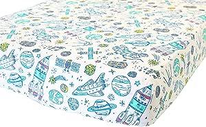 ADDISON BELLE * 有机棉婴儿床床单 - 优质婴儿床上用品 - 柔软、透气、耐用 太空