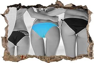Pixxp/3D WD 5078 92x62 女士 Bum 装在比基尼底墙突破 3D 墙壁艺术贴纸乙烯基引语卧室休闲儿童 - 黑/白,92 cm x 62 cm x 0.02 cm