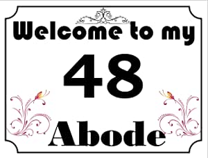 Welcome to my abode 数字 48 复古风格金属墙标志 (4796) - 尺寸约为 400mm x 300mm