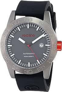 red line 男式 RL-50045-GM-014-BK-ST Mileage 不锈钢自动手表黑色硅胶表带